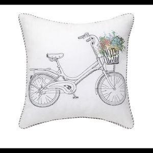 Stripped & floral bike throw pillow